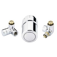 """Терморегулирующий комплект RTX set Danfoss для полотенцесушителей, артикул 013G4132, 1/2"""", хромированный, для подключения терморегулятора справа, запорного клапана слева"""