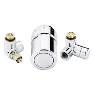 """Терморегулирующий комплект RTX set Danfoss для полотенцесушителей, артикул 013G4133, 1/2"""", хромированный, для подключения терморегулятора слева, запорного клапана справа"""