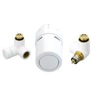 "Терморегулирующий комплект RTX set Danfoss для полотенцесушителей, артикул 013G4136, 1/2"", холодно-белый (RAL 9016), для подключения терморегулятора справа, запорного клапана слева"