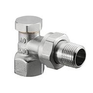 Запорный вентиль на обратку Oventrop Combi 2, угловой никелированный Ду10 (3/8), артикул 1091061
