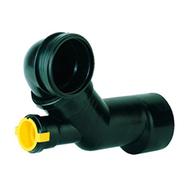 Угловой отводящий патрубок HL для консольных унитазов с дополнительным отводом DN50*45°, HL227