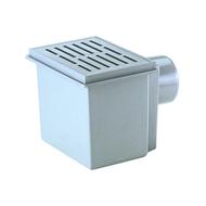Трап HL для подвалов и технических помещений с решеткой в подрамнике, с грязесборником и лючком-прочисткой и горизонтальным выпуском HL71