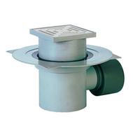 Трап HL для подвалов и технических помещений с решёткой в подрамнике, с сеткой для улавливания мусора, высотой гидрозатвора и горизонтальным выпуском HL72.1