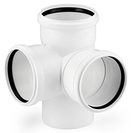 Крестовина двухплоскостная REHAU RAUPIANO PLUS 110/110/110/87°, для канализационных труб, арт. 11215641003