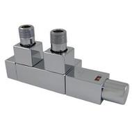 Комплект термостатический SCHLOSSER Duo-plex Square для стальных труб GZ1/2 х GW1/2 белый (форма угловая, левый), арт. 605900066