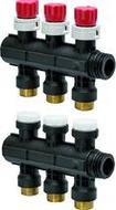 Модульный коллектор Uponor для теплого пола PRO 1 с запорными вентилями, 3 выхода на 3/4, артикул 1030580