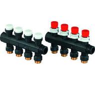 Модульный коллектор Uponor для теплого пола PRO 1 с запорными вентилями, 4 выхода на 3/4, артикул 1030581