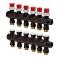 Модульный коллектор Uponor для теплого пола PRO 1 с запорными вентилями, 6 выходов на 3/4 , артикул 1030582
