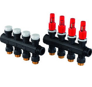 Модульный коллектор Uponor для теплого пола PRO 1 с расходомерами, 4 выхода на 3/4, артикул 1030584