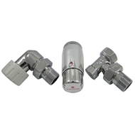 Комплект осевой SCHLOSSER левый, Хром,DN15 GZ1/2 x GW1/2 с головкой Мини M30x1,5, 602200069