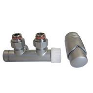 Комплект SCHLOSSER DUO-PLEX 3/4 х M22х1,5 сатин (угловой, левый), арт. 602100011