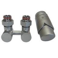 Комплект термостатический эксклюзивный SCHLOSSER 3/4 х M22х1,5 сатин (фигура угловая), арт. 601000028