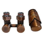 Комплект термостатический эксклюзивный SCHLOSSER 3/4 х M22х1,5 античная медь (фигура прямая), арт. 601000037