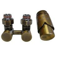 Комплект термостатический эксклюзивный SCHLOSSER 3/4 х M22х1,5 античная латунь (фигура угловая), арт. 601000040