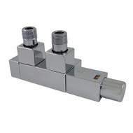 Комплект термостатический SCHLOSSER Duo-plex Square для медных труб GZ1/2 х 15х1 белый (форма угловая, левый), арт. 605900064