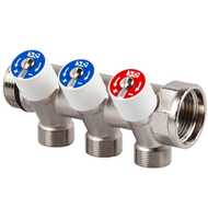 Коллектор SR Rubinetterie распределительный со встроенными клапанами 3/4х1/2 на 2 выхода, 0054-2000N200